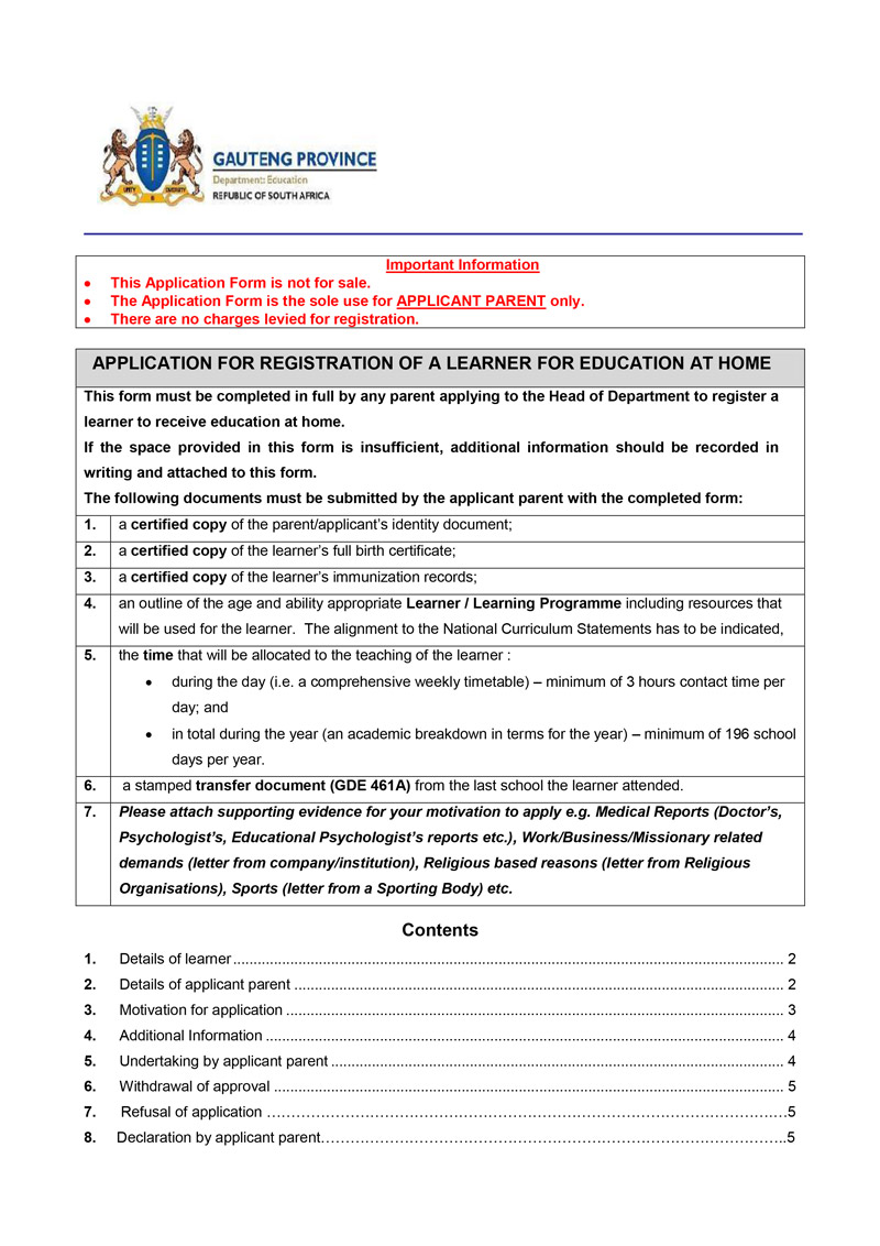 Application Form - Department of Education