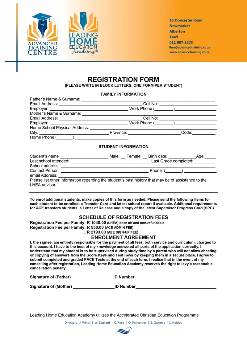 Application Form - Leading Home Education Academy