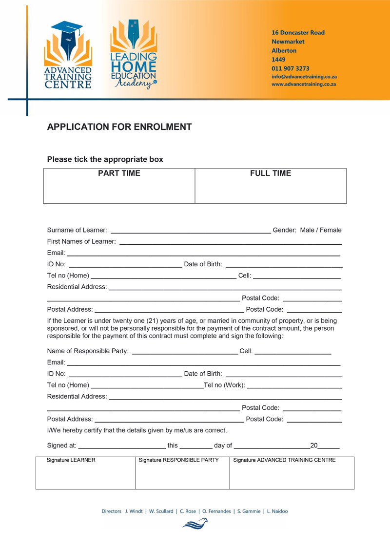 Study Centre Application Form